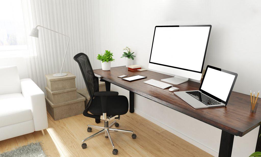 Bureau à la maison pour le télétravail